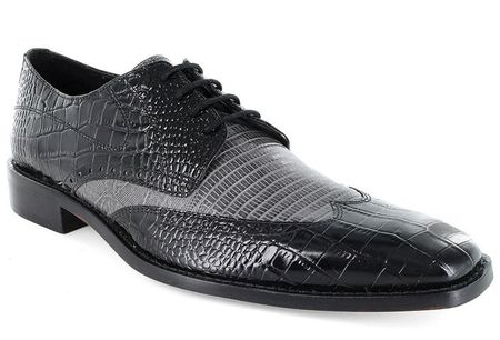 Stacy Adams Amato Black Grey Two Tone Dress Shoes 24823-975 IS - click to enlarge