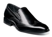 Stacy Adams Shoes Mens Black Wingtip Loafers Sydney 25138-001