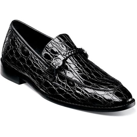 Stacy Adams Mens Black Crocodile Belly Loafer 25322-001 IS