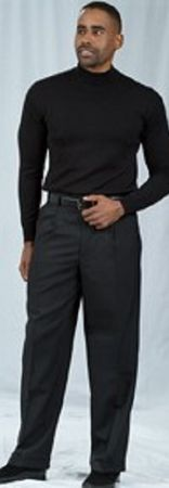 Pacelli Black Pleated Baggy Fit Dress Pants 810000