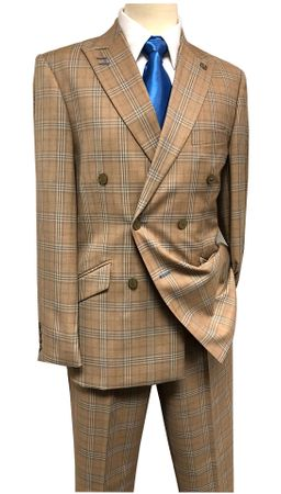 Stacy Adams Suits Men's Double Breasted Camel Plaid Duece 5982-778 Size 46R