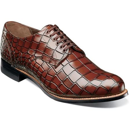 Stacy Adams Madison Shoes Cognac Crocodile Texture Leather 00104-221