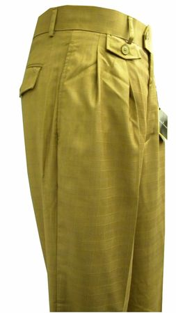 Stacy Adams Mens Bronze Plaid Wide Leg Dress Pants 1053 Size 30W, 34W, 38W