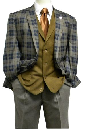 Stacy Adams Mens Gray Plaid Bally Suit 5318 Size 52L Final Sale - click to enlarge