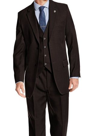 Stacy Adams Brown 1920s Suny Vested 3 Piece Suit 4016-208 Size 44R Final Sale