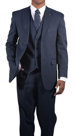 Stacy Adams Navy Blue Suny Vested 3 Piece Suit 4016-002 Size 40R Final Sale - click to enlarge