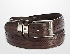 Stacy Adams Mens Brown Crocodile Print  Leather Belt 6127