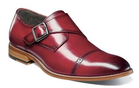 Stacy Adams Shoes Mens Red Leather Monkstrap Cap Toe 25162-608 - click to enlarge