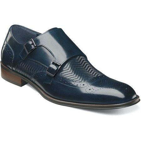 Stacy Adams Shoes Mens Blue Woven Double Monk Strap 25239-410 - click to enlarge