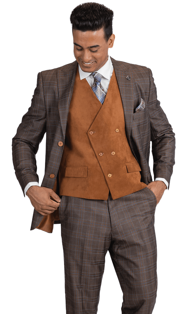 e553e681 Stacy Adams Mens Camel Plaid Suede Vest Fashion Suit Roy 5912-778 IS