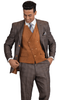 Stacy Adams Mens Camel Plaid Suede Vest Fashion Suit Roy 5912-778 IS