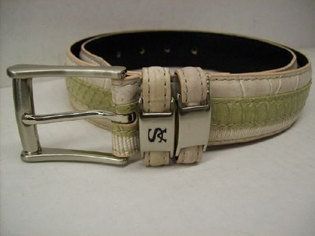 Stacy Adams Mens Cream Crocodile Print  Leather Belt 6127
