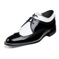 Stacy Adams Black White Wingtip Shoes Dayton 00605-21
