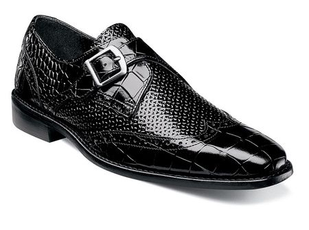Stacy Adams Black Side Strap Leather Dress Shoes 25084-001 OS - click to enlarge