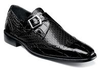 Stacy Adams Black Side Strap Leather Dress Shoes 25084-001 OS