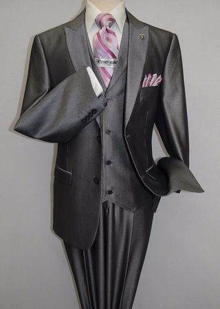 Stacy Adams Mens Gray Shiny Fine Stripe 3 Pc. Pett Vest 5284-201 - click to enlarge