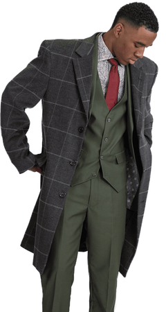 Stacy Adams Mens Gray Windowpane Overcoat Finn 4304-721 IS - click to enlarge