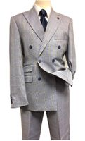 Stacy Adams Men's Blue Plaid 1940s Double Breasted Suit 5748-749 IS