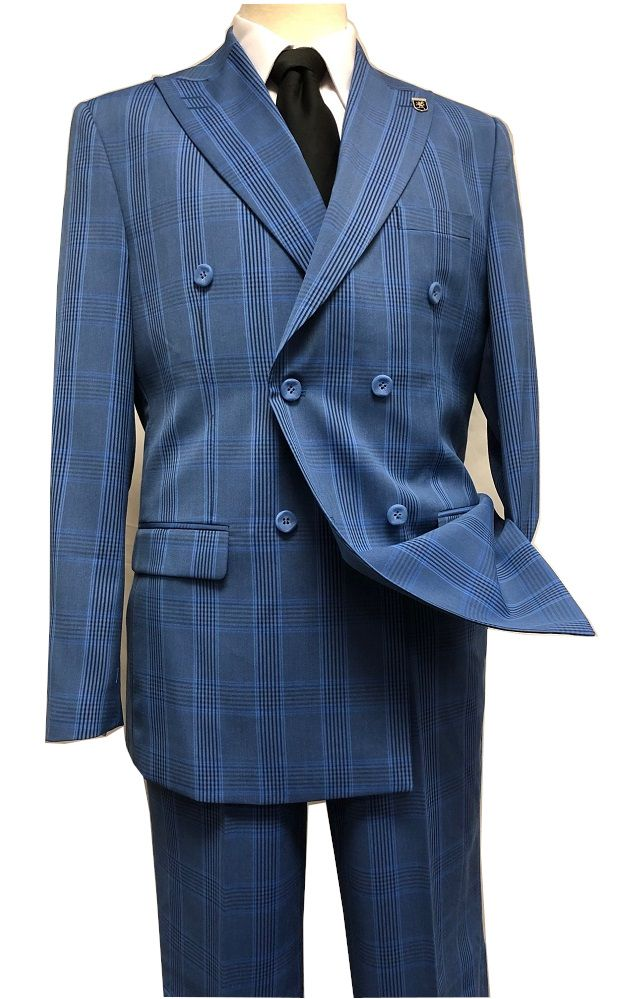 e7a686d26b8b Stacy Adams 1930s Blue Plaid Double Breasted Suit Deuce 9004-732 IS