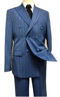 Stacy Adams 1930s Blue Plaid Double Breasted Suit Deuce 9004-732 IS