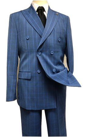 Stacy Adams 1930s Blue Plaid Double Breasted Suit Deuce 9004-732 IS Size 42R,  52L