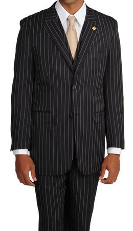 Gangster Suits Mens Black Bold Stripe 3 Pc  Vest Stacy Adams Mars 4017-000 - click to enlarge