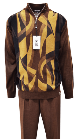 Stacy Adams Mens Mocha Brown Multi Sweater Pants Outfit 1358