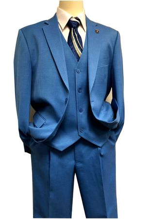 Stacy Adams 3 Piece Suit Mens Blue Suny Vested 4016-052 Size  46RIS Size 46R