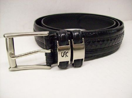 Stacy Adams Mens Black Crocodile Print  Leather Belt 6127 - click to enlarge
