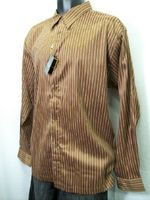 Stacy Adams Mens Brown Stripe Long Sleeve Button Down Shirt 5423