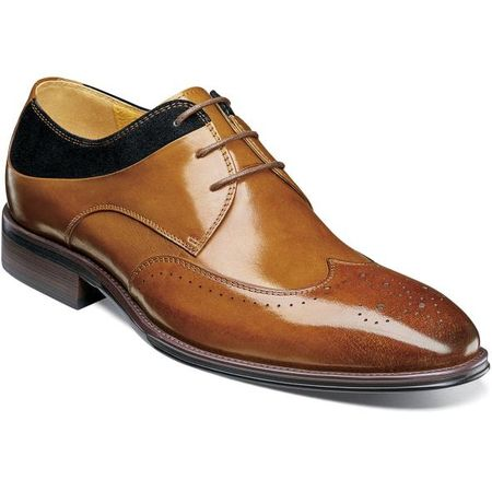 Stacy Adams Men's Shoes Tan Black Leather Wingtip 25314-238 IS