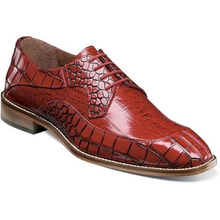 Stacy Adams Shoes Mens Red Leather Alligator Texture 25318-600 IS