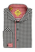 Steven Land Black Houndstooth Slim Fit Fashion Shirt TS532