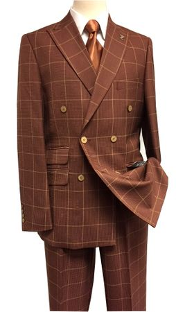 Stacy Adams Mens Rust Texture Square Double Breasted Suit Sam 5900-778 IS - click to enlarge