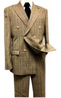 Stacy Adams 1930s Tan Plaid Double Breasted Suit Deuce 9004-748 IS