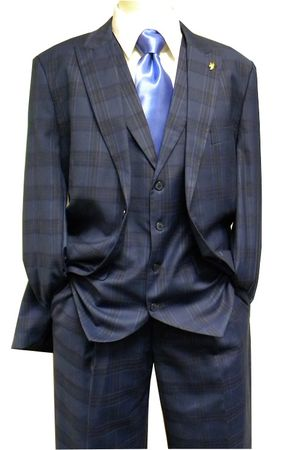Falcone Mens Pett Vest Blue Plaid 1920s Style Suit 5432-032 IS
