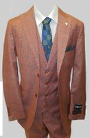 Stacy Adams Mens Rust Plaid Jett Vested 1920s Fashion Suits 5746-778