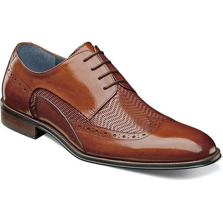 Stacy Adams Shoes Mens Tan Leather Woven Wingtip 25238-240 - click to enlarge