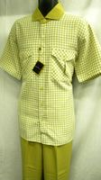 Stacy Adams Mens Tan Plaid Wide Leg Walking Suit SA640 IS