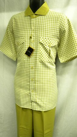 Stacy Adams Mens Tan Plaid Wide Leg Walking Suit SA640 Size L/34