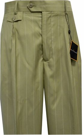 Stacy Adams Mens Tan Stripe Wide Leg Dress Pants 2313 Size 30W