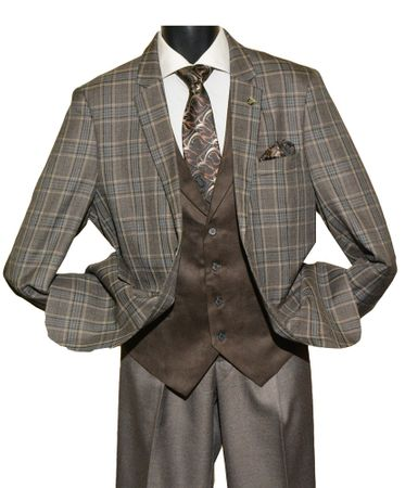 Stacy Adams Mens Taupe Plaid Bally Vest 3 Piece Suit 5640-058 - click to enlarge