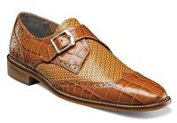 Stacy Adams Shoes Mens Tan Gator Tex Monk Buckle Strap 25084-240 OS