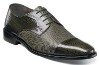 Stacy Adams Mens Olive Eel Design Oxford Cap Toe Shoes  Gatto 25051-303