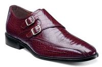 Stacy Adams Shoes Burgundy Gator Print Side Buckle Kasimir 24902-601 IS