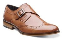 Stacy Adams Shoes Tan Monk Strap Leather Wingtip Stratford 24973-240 IS