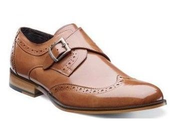Stacy Adams Shoes Tan Monk Strap Leather Wingtip Stratford 24973-240 Size 13