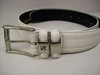 Stacy Adams Mens White Crocodile Print  Leather Belt 6027