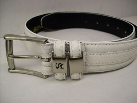 Stacy Adams Mens White Crocodile Print  Leather Belt 6027 - click to enlarge