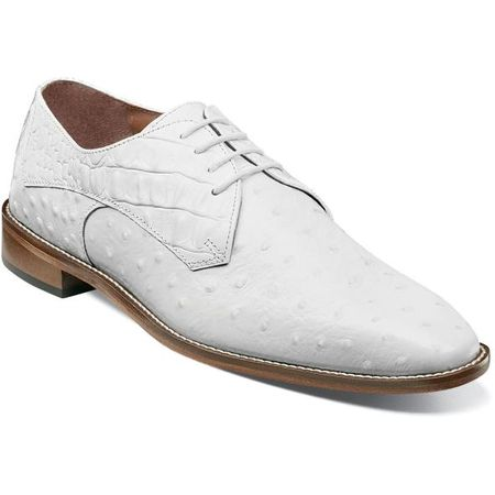 Stacy Adams White Leather Mens Shoes Ostrich Print 25273-100